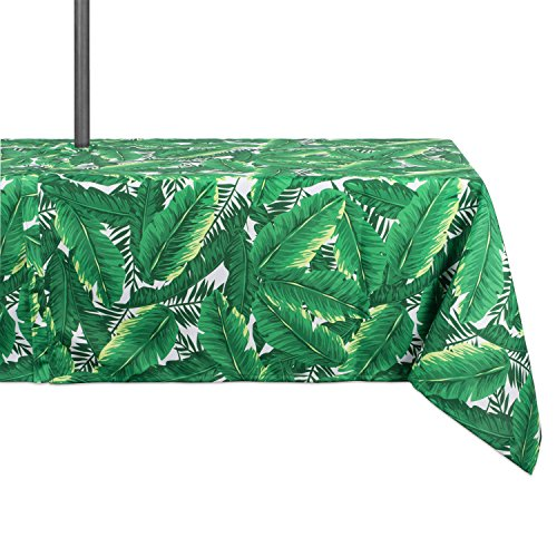DII Spring & Summer Outdoor Tablecloth, Spill Proof and Waterproof with Zipper and Umbrella Hole, Host Backyard Parties, BBQs, & Family Gatherings - (60x84