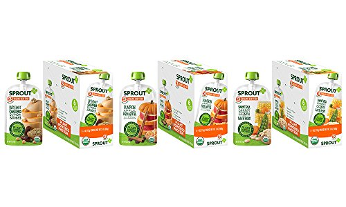 Sprout Organic Baby Food Pouches Stage 3 Plant Protein Variety Pack, 4 Ounce (Pack of 18); Butternut Chickpea Quinoa Date, Pumpkin Apple Red Lentil with Cinnamon, Sweet Pea Carrot Corn & White Bean