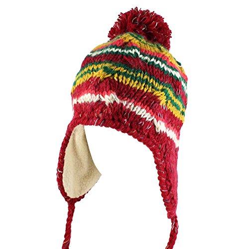 Morehats Multi Stripe Knit Pom Pom Handmade Trapper Beanie Winter Ski Warm Hat Red