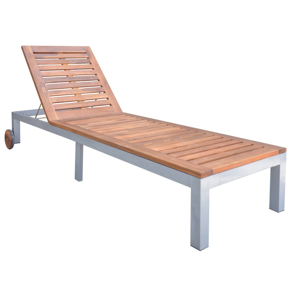 Festnight Outdoor Patio Chaise Lounge Chair Acacia Wood Sun Lounger Bed with Wheels Pool Deck Backyard Garden Outdoor Furniture