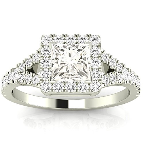 - 1.35 Ctw 14K White Gold GIA Certified Princess Cut Halo Style Double Row Pave Split Shank Diamond Engagement Ring, 1 Ct G-H VVS1-VVS2 Center