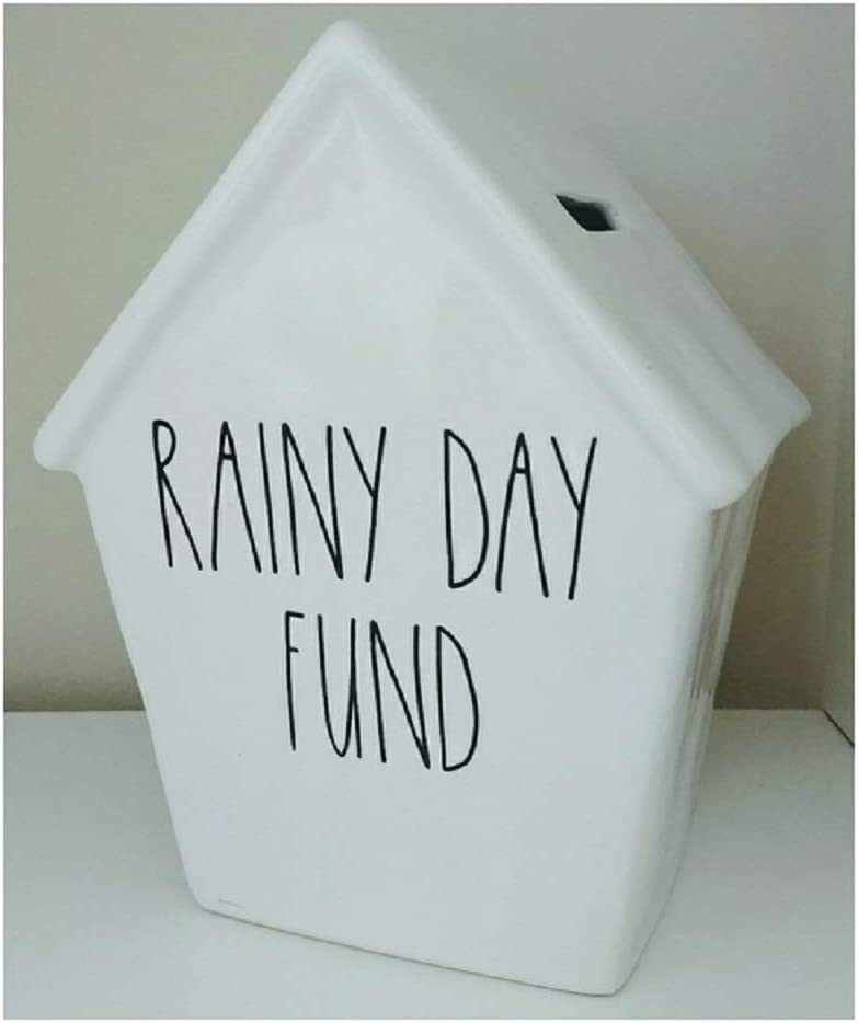 Rae Dunn Rainy Day Fund Ceramic Piggy Bank Money Birdhouse Style Design Artisan Collection by Magenta - LL