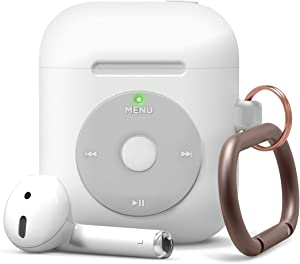 elago AW6 Case Designed for Apple AirPods Case 1 & 2, Classic Music Player Design Case with Keychain [US Patent Registered] (White)
