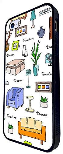 1369 - Cool Fun Trendy Cute Kawaii Retro Furniture Sketch Illustrations Design iphone SE - 2016 Coque Fashion Trend Case Coque Protection Cover plastique et métal - Noir