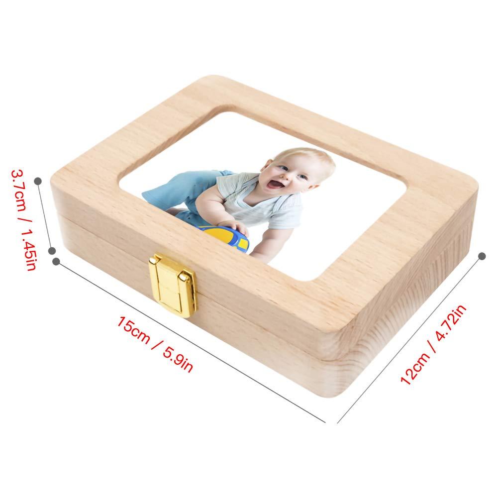 primer diente de madera y contenedor de memoria para ni/ños//ni/ños//reci/én nacidos cabello caduco PoeHXtyy Caja de recuerdo de dientes de beb/é dientes de leche cajas de ahorro de dientes de leche