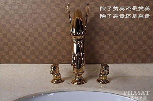Furesnts Modern home kitchen and Bathroom Sink Taps The golden Basin split leading luxury swan kits Basin Mixer Bathroom Sink Taps,(Standard G 1/2 universal hose ports) by Furesnts Faucet (Image #2)
