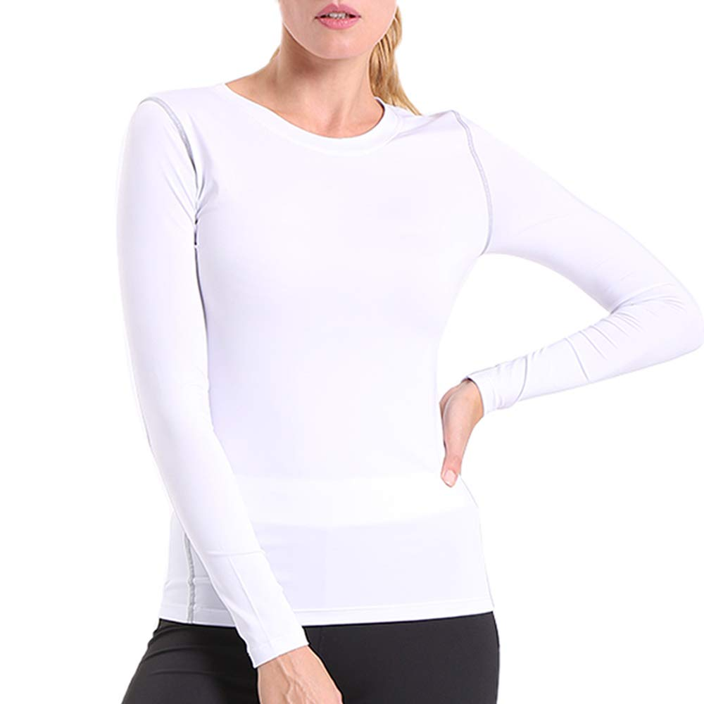 ENIDMIL Women's Compression Shirts Base Layer Dry Fit Tank Top (XL, White)