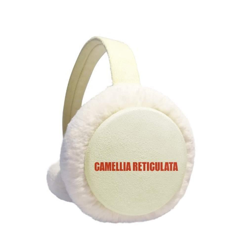 Camellia Reticulata Flower Red Earmuff Ear Warmer Faux Fur Foldable Outdoor