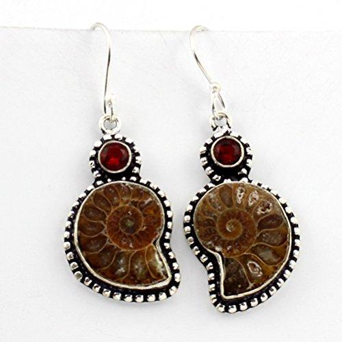 Bezel Overlay - 925 Sterling Silver Overlay Ammonite Fossil Garnet Quartz Earring Jewelry