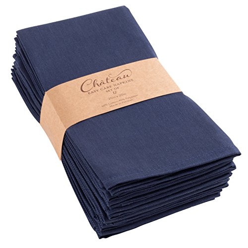 Chateau Easy-Care Cloth Dinner Napkins - Set of 12 Oversized (20 x 20 inches) - Navy Blue