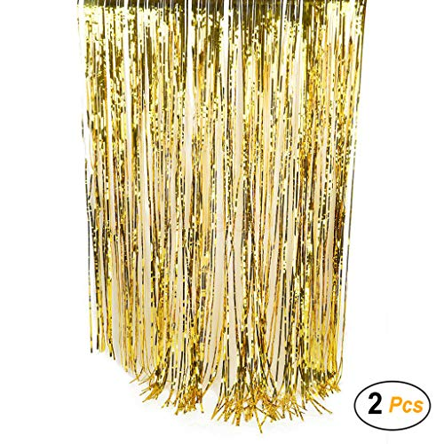 3.3 ft x 6.6 ft Foil Fringe Curtain for Party Decoration Photo Backdrop, 2 Pack (Gold)