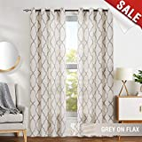 dark grey curtains living room jinchan Grey Moroccan Print Curtains for Bedroom- Quatrefoil Flax Linen Blend Textured Geometry Lattice Grommet Window Treatment Set for Living Room - 50