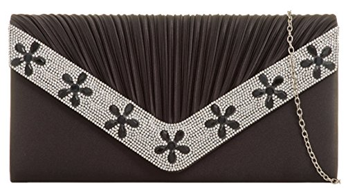 Clutch Gemstones Flower HandBags Bag Girly Black Girly HandBags wqXItP7x