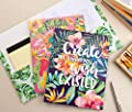 Two Pocket Folders Bulk – 12-Pack Letter Size File Folders, 6 Motivational Designs for Students, Tropical Palm Trees Print, School Folders with Pockets, 12 x 9.25 Inches