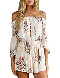 60c392fe4be2 Womens Off Shoulder Short Jumpsuit Flower Print 3 4 Sleeve Romper