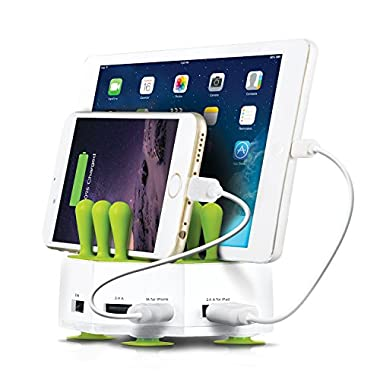 Aduro GRASS HUB Universal 4 Port 6.8A USB Charging Station Stand Dock for all Tablets Smartphone and USB Devices (White)