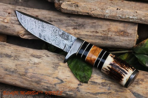 Black Mamba Knives BMK-108 Leopard Knife 10 Long 5 Blade 9 Ounce Damascus Hunting Fixed Blade Knife With Stag Antler With Leather Cover Hand Made Word Class Knives