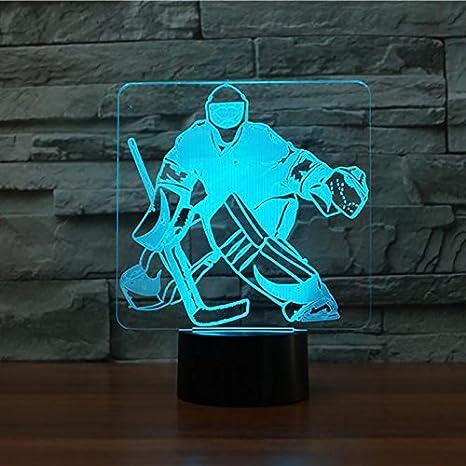 Fissen 3d Hockey Sur Glace Le Gardien De But Led Lampe D Illusion