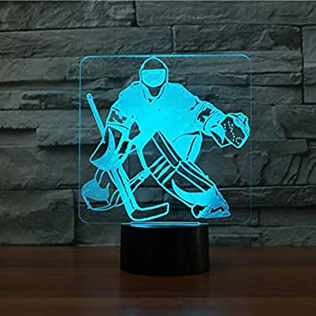 3d Ice Hockey Goalie Night Light Touch Table Desk Optical Illusion