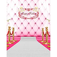 Pink Headboard Vinyl Backdrop for Photography White Curtain Stage Photo Background Newborn Princess Birthday Backdrops