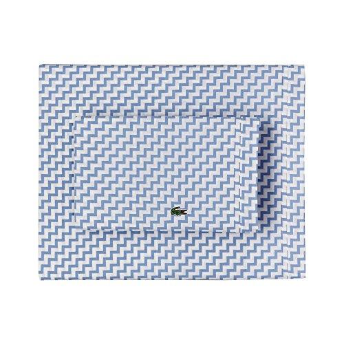 Lacoste 100% Cotton Percale Sheet Set, Chevron Print, Allure Blue, Full (Blue Chevron Sheets)