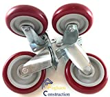 5 inch (Set of 4) with 2 Swivel casters and 2 fixed Casters - Poly tread, sealed industrial bearing wheels - Foghorn Construction