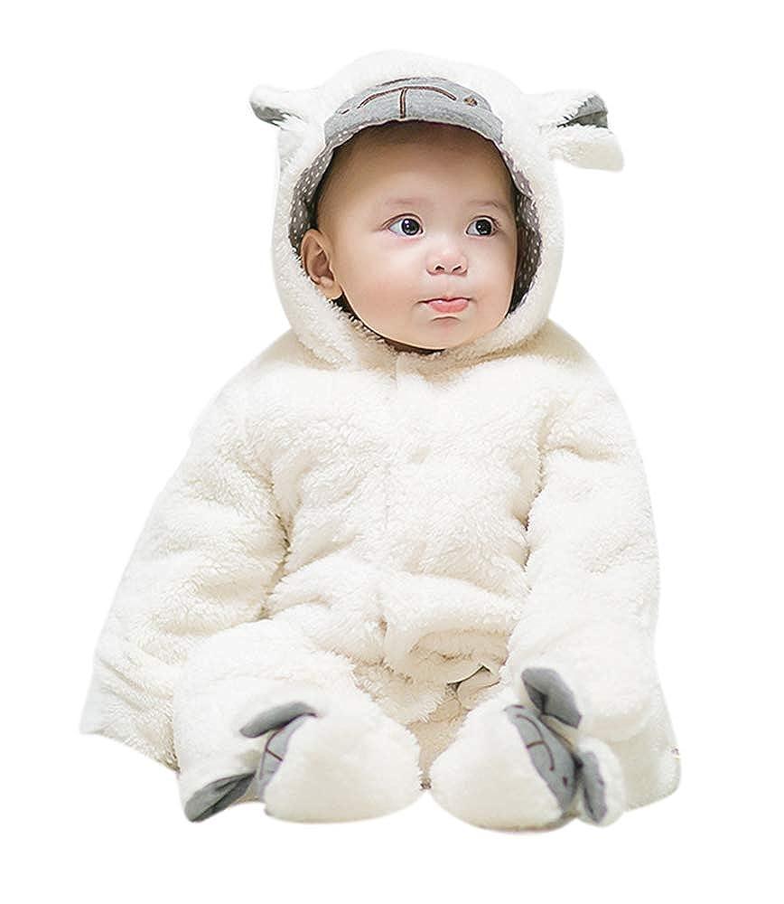 Pagliaccetto con Cappuccio Pagliaccio Tute 3D Animal Design Tute Unisex Inverno Abiti Neonati Ragazzi