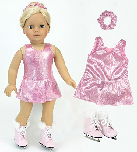 Figure Skating Costumes Designers (18 Inch Doll Clothes Pink Ice Skating Outfit 3-piece Set Fits 18 Inch American Girl Doll & More! Sophia's Three Piece Set with Pink Sparkle Skating Dress, Scrunchie & Pink Fur Trimmed Doll Ice Skates)