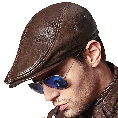 JING Men's Flap Cap Real Cowhide Leather Newsboy Hat Beret Trucker Cabby Hat Gatsby/Ivy (X-Large (22.8 Inches), Yellow Brown) ()