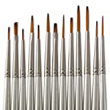 Jerry Q Art 13 Pcs Detail Paint Brushes, Double Color Synthetic Hair, High Performance for Oil, Acrylic and Watercolor JQ-501