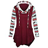 WOCACHI Final Clear Out Christmas Women Hoodies Xmas Reindeer Patchwork Sleeves Hooded Pullover Sweatshirt Tops Winter Bottoming Shirts Warm Long Sleeve Sweaters (Wine, Large)