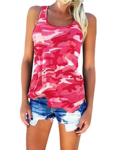 YJWAN Womens Camouflage Casual T Shirt Camo Sleeveless Tanks Top Vest and Short (L, Vest Pink) (Women Camo Vest)