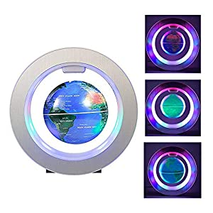 "FUZADEL Magnetic Levitation Floating Globe, 4"" Electronic Antigravity Levitating Globe with Colorful LED World Map…"