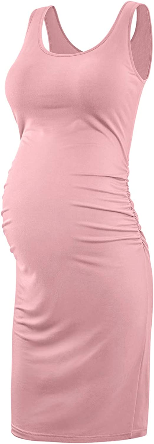 KIM S Women's Maternity Casual Dresses Sleeveless Bodycon Dress