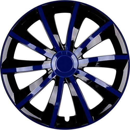 PREMIUM Radkappen Radzierblenden Radblenden Modell Blau Schwarz Farbe Gral 4er Set Felgendurchmesser:15 Zoll