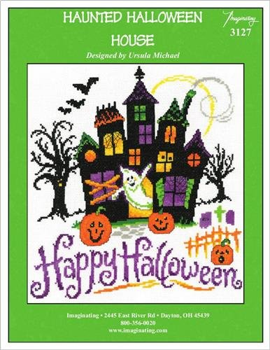 Haunted Halloween House Cross Stitch Chart and Free Embellishment -