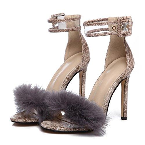 Baigoods Women Sandals Shoes Women Suede Fur High Heels Footwear Ankle Sandals Female Party Wedding Dress (US:8, - Cute High Heel