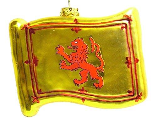 Glass Scottish Flag Royal Standard of Scotland Rampant Lion Christmas Tree Ornament