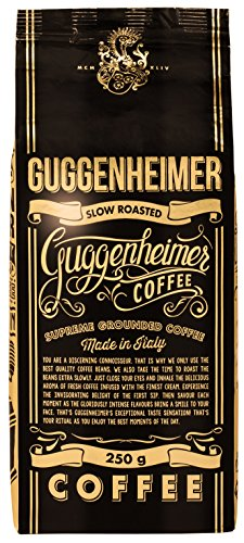 GUGGENHEIMER COFFEE - 500 g Espresso Kaffee GEMAHLEN - Extra langsam geröstet - wenig Säure und Bitterstoffe - Barista-Qualität - Bester Espresso für Espressokocher - Aromabeutel zu 2 x 250 g