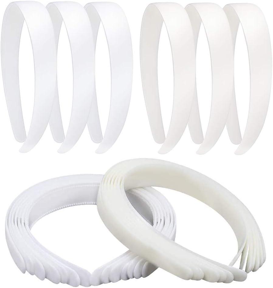 Homgaty - 20 diademas de pelo de plástico de 2,54 cm, 10 unidades de color blanco con dientes para mujeres y niñas, para manualidades, pelo liso, 10 unidades de color marfil y 10 de color blanco