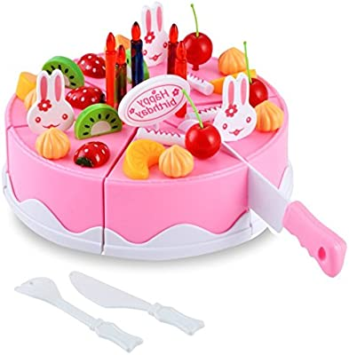 DMZK 54 Pcs Tarta de cumpleaños Juguete Pastel de cumpleañosd, Alimentos Cortar Juguete para niños de 3 o más años