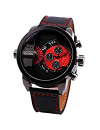 OULM Men's Pilot's Casual Quartz Wrist Watch Black Leather Strap Sub Dials Oversize Red Dial Alloy Case Birthday Gift + Box