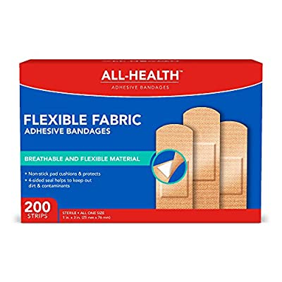 All-Health Flexible Fabric Adhesive Bandages, 1 inch, 200 Count by ASO Corp