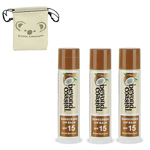 Beyond Coastal All Natural Coconut Lip Moisturizer Balm | Active Sun Protection SPF 15 | .15 Oz 3pk Bundle + Pouch = .45 Oz ()