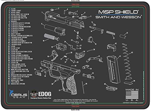 EDOG Smith & Wesso M&P Shield Cerus Gear Schematic (Exploded View) Heavy Duty Pistol Cleaning 12x17 Padded Gun-Work Surface Protector Mat Solvent & Oil Resistant Bonus 18x18 Paper Training Target