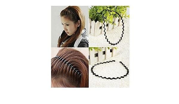 BLACK WAVY HEADBAND Metal Hairband Mens Womens Hair Band Unisex Head Hoop Band