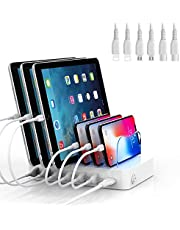 SooPii Premium 6-Port USB Charging Station Organizer for Multiple Devices, 6 Short Charging Cables Included, for Phones, Tablets, and Other Electronics, White
