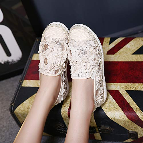 Material Bottom Hrcxue A Flat Spillo Sandals Tacco Net Leisure With Apricot Female Bright 611Zwfznqx