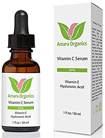 Amara Organics suero vitamina C para la cara 20% con ácido hialurónico y Vitamina E