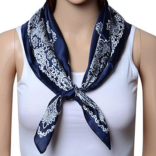 QBSM Women Large Satin Square Silk Hair Head Scarf Neckerchief Neck Tie Band
